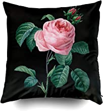 Musesh Christams Rose Black Floral Cushions Case Throw Pillow Cover for Sofa Home Decorative Pillowslip Gift Ideas Household Pillowcase Zippered Pillow Covers 20X20Inch