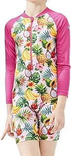 Karrack Girls Long Sleeved One Piece Rash Guard Swimsuit Kid Water Sport Short Swimsuit UPF 50+ Sun Protection Bathing Suits