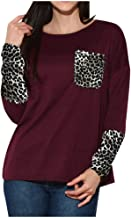 Aunimeifly Women's Leopard Pocket Patchwork Blouse Casual Loose T-Shirts Ladies Long-Sleeved Tops with Thumb Holes