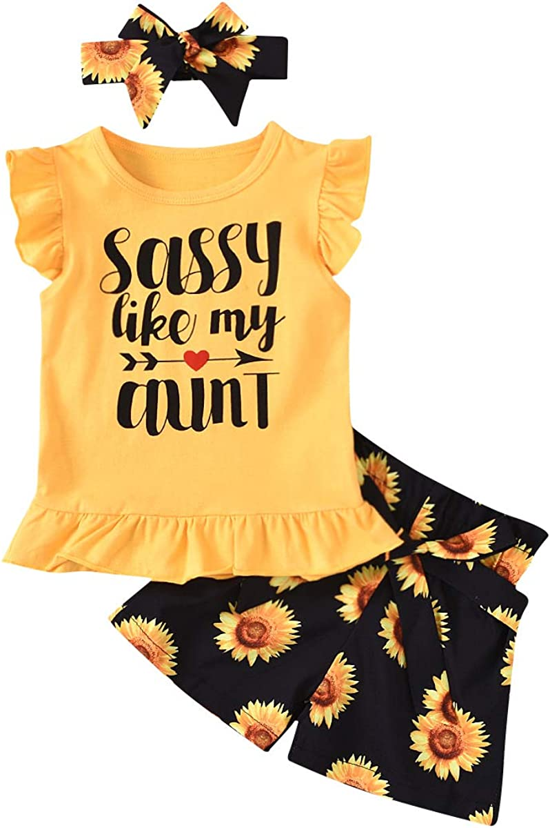 Toddler Baby Girls 2Pcs Summer Shorts Sets Sleeveless Letter Print Tops Shorts Kids Casual Clothes Sets