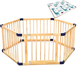 WJSW Baby Toys Adorable Safety Play Center Yard Versatile Play Space Toddlers Playpen Fence Indoor  amp  Outdoor Play Space  Easy  amp  Quick Assembly of Enclosed Space  Durable Construction Wooden