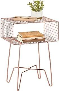 mDesign Modern Farmhouse Side/End Table – Metal Grid Design – Open Storage..