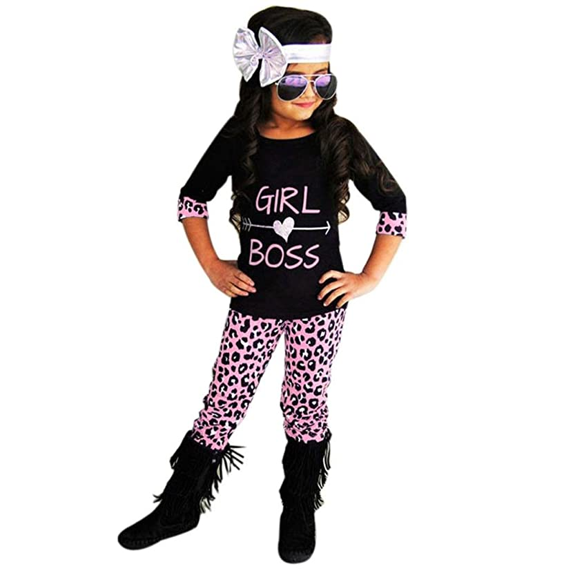 G-real Tops+Pants, Toddler Baby Girls Girl Boss T-Shirt+Leopard Pants 2pcs Outfits for 2-6T