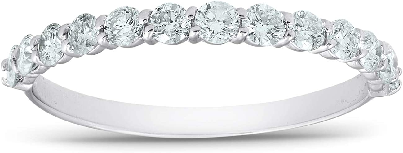 1/2 Ct TDW Diamond Wedding Ring Stackable Womens Anniversary Band 14k White Gold