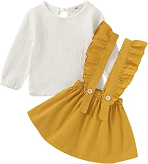 MODNTOGA Kids Toddler Baby Girls Skirt Sets Long Sleeve Top + Ruffle Strap Suspender Dress Outfits Clothes