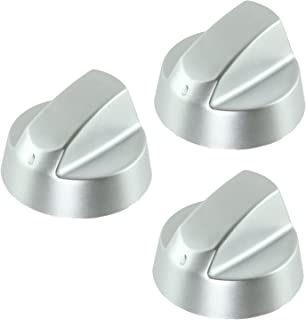 Spares2go Control Knobs / Dials For Indesit Oven Cooker & Hob (Pack Of 3 + Adaptors, Silver)