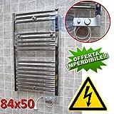 Scaldasalviette CORTINA elettrico CROMATO cm 84x50 con termostato - resistenza 300W