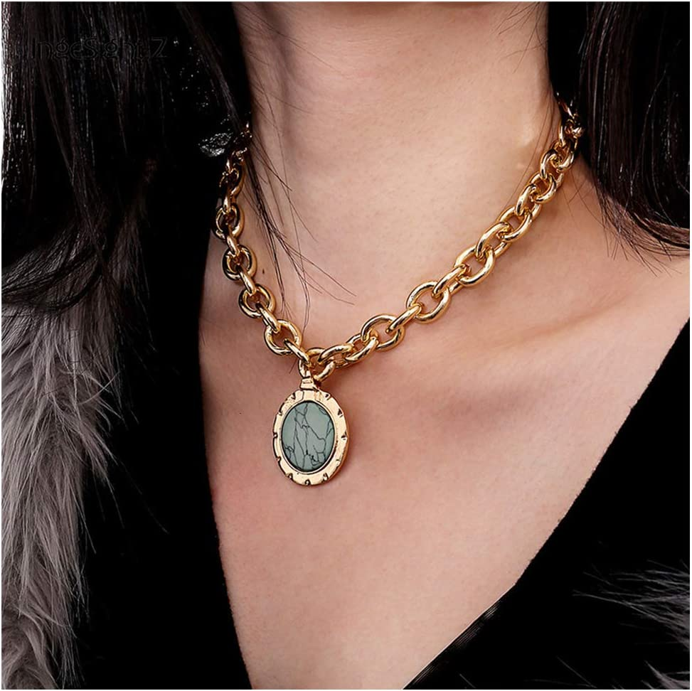 Vintage Statement Choker Necklace Green Stone Pendant Elegant Gold Clavicle Chain Collar Necklace Body Chain Jewelry for Women and Girl (Gold)