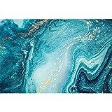 YIYAOFBH Abstrakt Blue Ocean Gold Glitter Artwork Leinwand