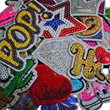 Qingxi Charm 32pcs Assorted Styles Colorful Sequins Sewing on/Iron on Embroidered Patches Clothes Dress Hat Pants Shoes Curtain Sewing Decorating DIY Craft Embarrassment Applique Patches