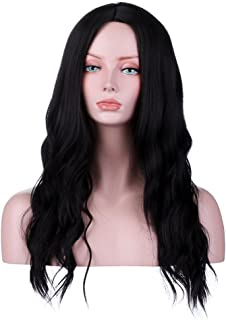 YOPO Natural Black Wigs Wavy Long Middle Part Hair Wig No Bangs Synthetic Full Heat Resistant Wigs for Women