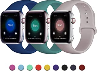 JuQBanke 3 Pack Silicone Bands Compatible with Apple Watch 38mm 40mm 42mm 44mm, Soft Sport Replacement Bands for Women Men, Silicone Straps Compatible with iWatch Series 5/4/3/2/1