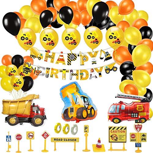 Hook Bagger Kindergeburtstag Deko Geburtstagsdeko Jungen,Geburtstag Junge Kindergeburtstag Deko Set,Happy Birthday Deko,Bagger Luftballons Baufahrzeug Feuerwehrauto Folienballons(62teil)