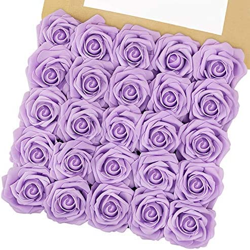 N&T NIETING Artificial Flowers, 25pcs Fake Flowers with Steams for Baby Shower, Cake Decoration DIY, Party Decoration, Home Display, Valentines Day Gifts for Him Her Kids