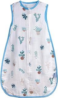 Baby Sleeping Sack Muslin Summer, Soft Cotton Wearable Blanket, Baby Sleep Bag Breathable,2 Way Zipper,0.5 TOG