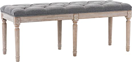 Upholstered Dining Room Bench, Rustic Living Room Ottoman Bench with Carved Pattern & Rustic White Brushed Rubber Wood Legs, Gray