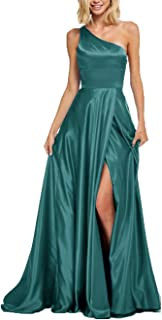 Women's One Shoulder Satin Prom Dresses Slit Long Formal Evening Party Gowns