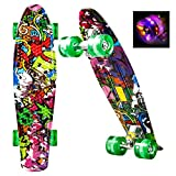 """WeSkate Mini Cruiser Skateboard Retro Komplettboard, 22"""" 55cm Vintage Skate Board mit Kunststoff Deck und blinkenden LED-rollen, Cruiser-Board mit LED Leuchtrollen für Erwachsene Kinder Jungen Mädchen"""