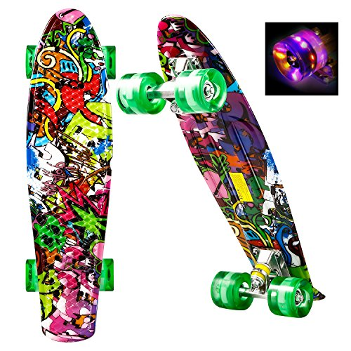 WeSkate Mini Cruiser Skateboard Komplett 55cm Retro Skate Board mit LED Leuchtrollen für Kinder Erwachsene