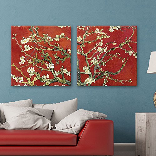 wall26 2 Panel Square Canvas Wall Art - Almond Blossom in Red by Vincent