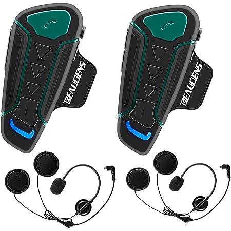 Interfono Bluetooth per moto Full Duplex 1200M Interphone BT Auricolare 6 Utenti Impermeabile per moto Motoslitte Sci ATV Compatibile con MP3 Telefono Tablet Bluetooth 2 Set