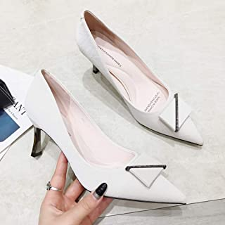 Pointed High Heels Female Autumn and Winter Fine Heel Square Buckle Single Shoes Asakuchi Occupation Jobs Women's Shoes