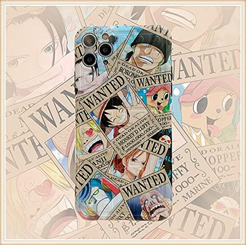 One Piece Funda de Silicona Compatible iPhone 11 12, iPhone 8 y iPhone 7,', Sedoso-Tacto Suave, Cubierta a Prueba de Golpes con Forro de Microfibra