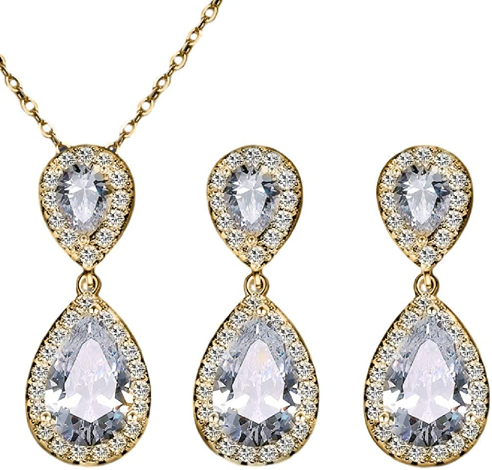 BOCURA Pear Teardrop Shape Cubic Zirconia Necklace and Earrings Set Wedding Jewelry for Brides Bridesmaids Accessories Jewelry for Women and Girls