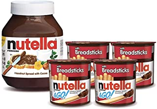 Nutella and Nutella and Go Bundle, 4 Count Chocolate Hazelnut Spread Snack Packs with Breadsticks and 35.3 ...