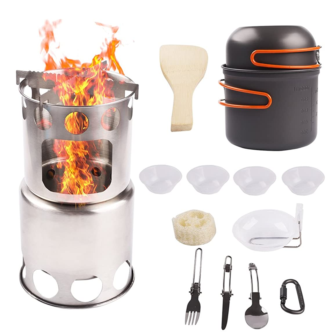 Camp Stove Cookware Combo Stainless Steel Wood Burning Ultralight Portable Backpacking Cook Set for BBQ Hiking Picnic Outdoors