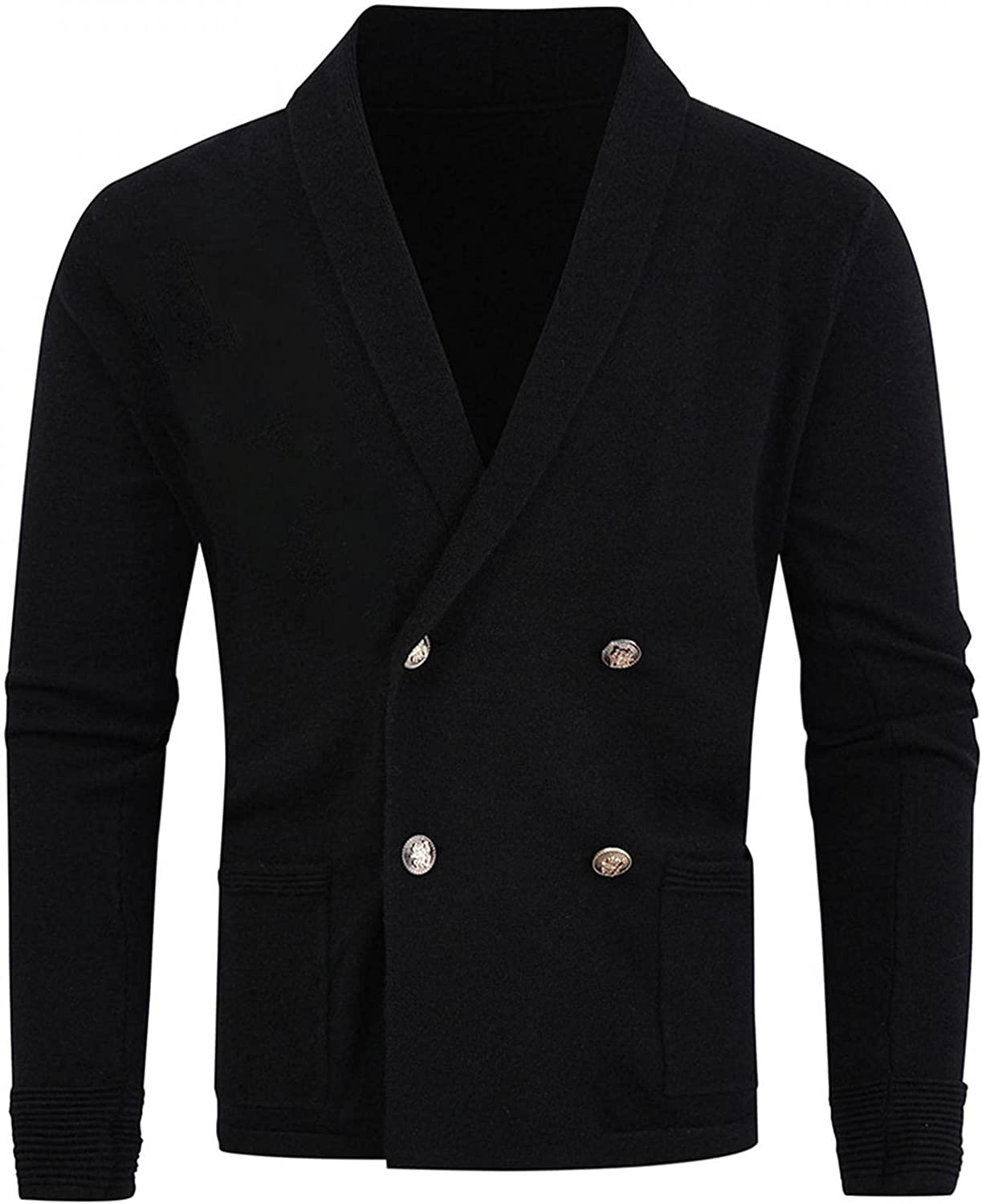 Huangse Shawl Collar Knit Sweater for Men Slim Fit V Neck Long Sleeve Double Breasted Dress Sweater Blazer