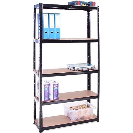 Rangement Garage: 180 cm x 90 cm x 30 cm | Noir - 5 Niveaux | 175 kg par tablette (Capacité Totale de 875 kg) | Garantie de 5 ans