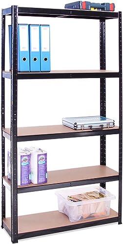Rangement Garage: 180 cm x 90 cm x 30 cm | Noir - 5 Niveaux | 175 kg par tablette (Capacité Totale de 875 kg) | Garan...