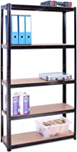 Rangement Garage: 180 cm x 90 cm x 30 cm | Noir - 5 Niveaux | 175 kg par tablette (Capacité Totale de 875 kg) | Garantie d...