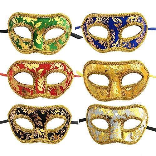 YGSAT 6 Pcs Unisex Antifaz Carnaval Máscara Brillante Materiales de Boda Accesorios de Fiesta de Disfraces Carnaval 6 Colores Fiesta venecianas
