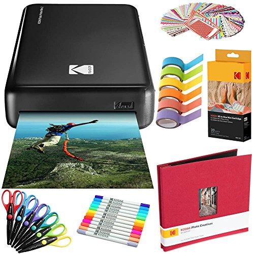 Kodak Mini2 Instant Photo Printer (Black) Art Bundle + Paper (20 Sheets) + 8x8 Cloth Scrapbook + 12 Twin Tip Markers + 100 Border Stickers + 6 Decorative Scissors + Washi Tape