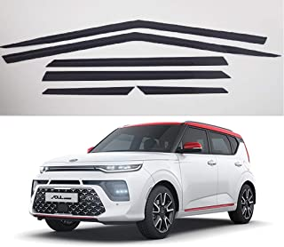 AUTOCLOVER Dark Smoked Side Window Vent Visor 6 Piece Set for KIA Soul 2019 / Safe RAIN Out-Channel Guard Deflector