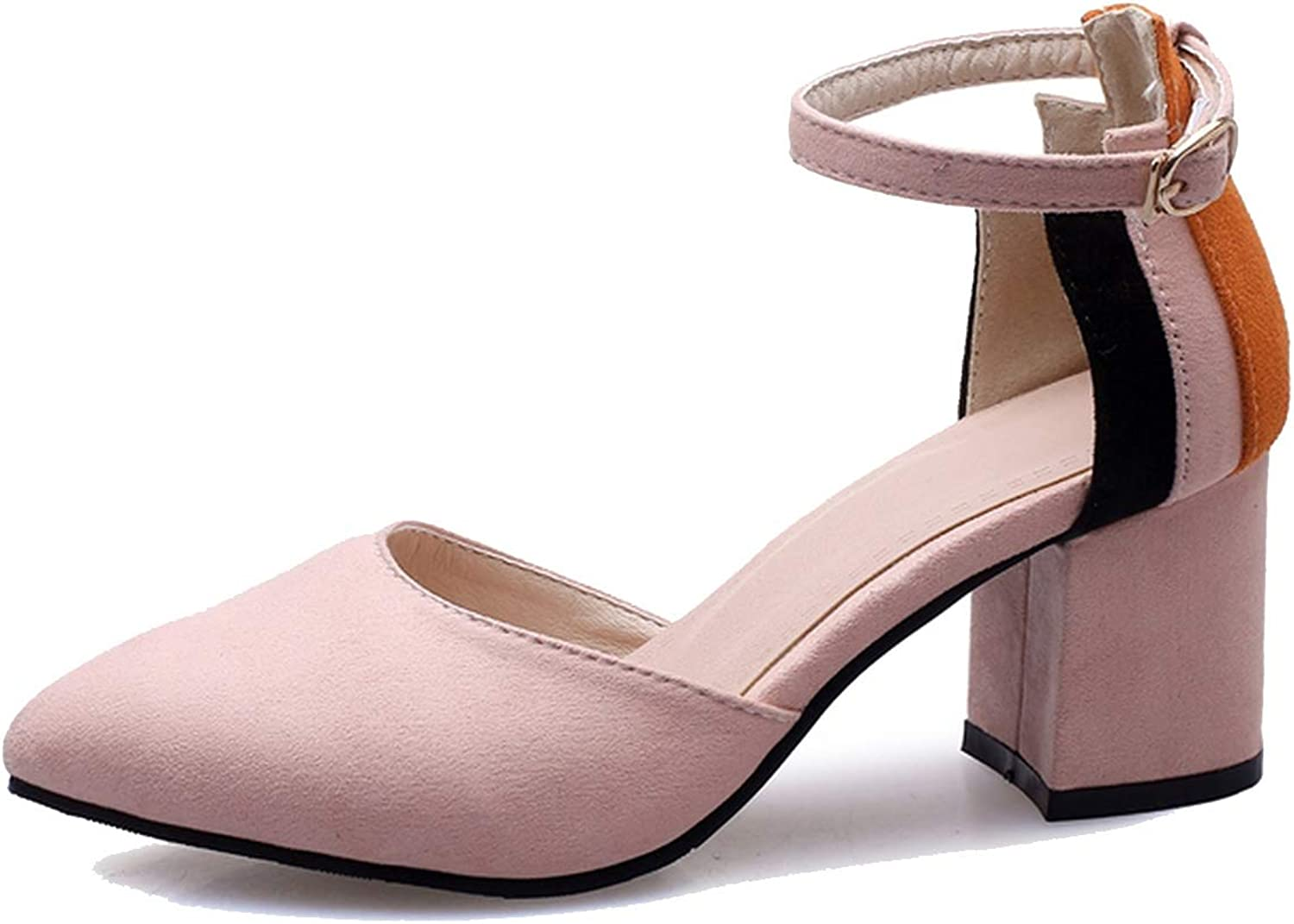 Buckle Strap Women Pumps Pointed Toe Thick high Heels Party Wedding shoes Mixed color Footwear,Pink,14