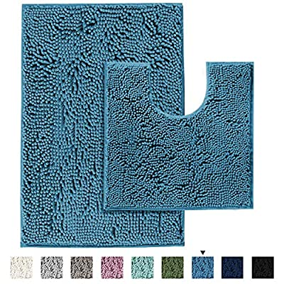 Bathroom Rugs Luxury Chenille 2 Piece Mats, Soft Plush 32''x20'' Bath Rug + 20''x20'' Toilet Mat Microfiber Shaggy Carpet, Super Absorbent mats, Machine Washable (Dark Teal)