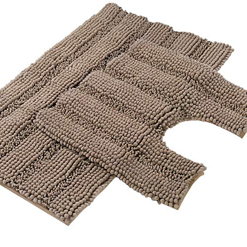 Turquoize Shaggy Chenille Bath Mat Set Contour Shag Rugs Non Slip Bath Mats for Tub Extra Soft and Absorbent Bathroom Rugs 20' X 32' Bath Rug & U-Shaped 20' x 20' Toilet Floor Rug, Taupe Brown