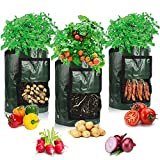 Potato Grow Bags, Afomida 3 Pack 7 Gallon Plant Growing Bags Reusable Garden Vegetable Planter for Tomato, Carrot, Onion, Fruits Growing Containers, Ventilated Planting Pots with Handles
