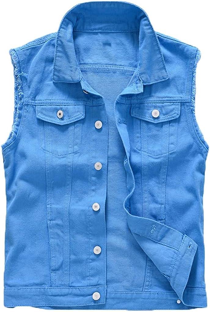 Blue Denim Vest Summer Men's Denim Vest Thin Jean Jackets Men Waistcoat Sleeveless Slim Fit Casual Male Jean Coat