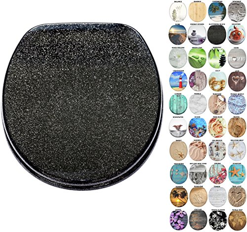 Sanilo Round Toilet Seat, Wide Choice of Slow Close Toilet Seats, Molded Wood, Strong Hinges (Glittering Black)