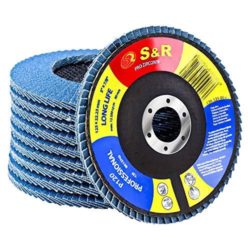 S&R Fächerschleifscheiben Set 10 St, 125 x 22,23 mm, PRO ZIRCONIA, T29, Lamellenschleifer, Schruppscheiben Satz für Stahl, Edelstahl, Körnung P120