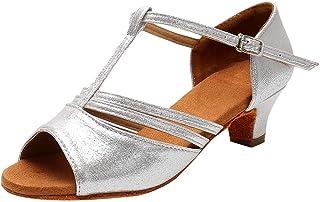 Dtuta Chaussures à Talon Plat Pour Femme, Boucle De Mode Estivale Danse Latine Chaussures De Danse Tango Chaussures De Dan...