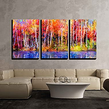 wall26 - 3 Piece Canvas Wall Art - Oil Painting Colorful Autumn Trees. Semi Abstract Image of Forest, Aspen Trees with Yellow - Modern Home Decor Stretched and Framed Ready to Hang - 16 x24 x3 Panels