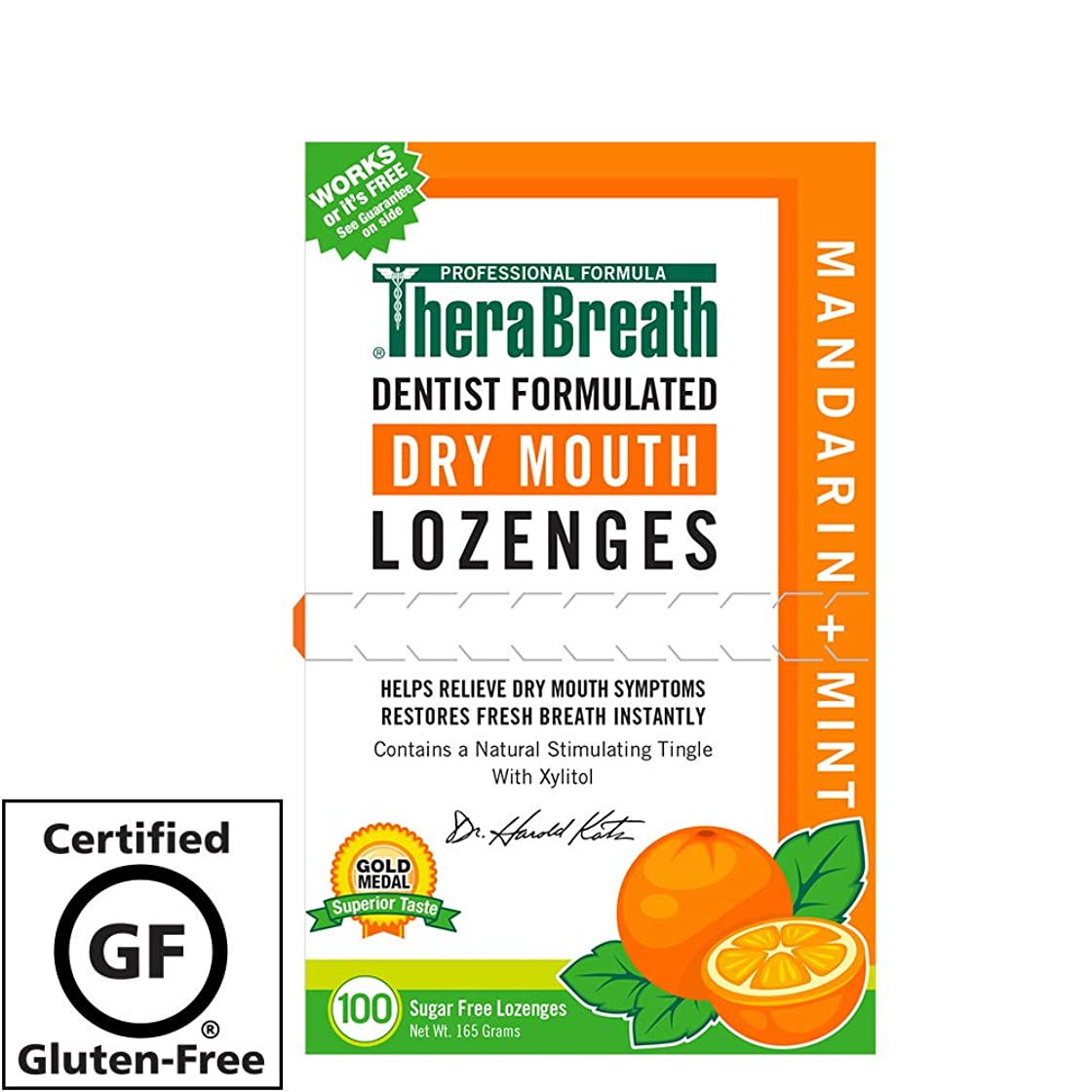 報酬の飢えた空いているTheraBreath, Dry Mouth Lozenges, Mandarin Mint, 100 Wrapped Lozenges, 165 g