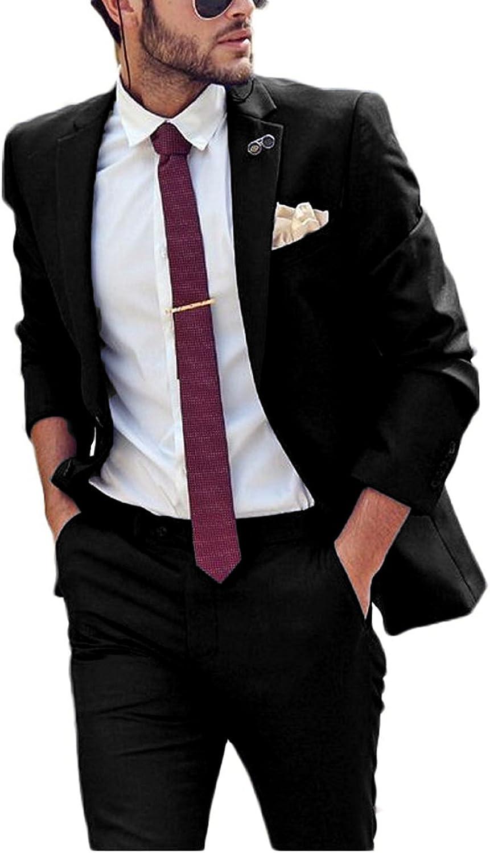 JYDress Men's Blue Slim Fit 2 Pieces Men Suit Jacket Pants Wedding Suit for Men