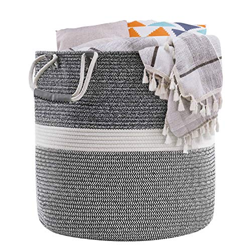 "YOUDENOVA Woven Laundry Basket 18.1x18.1x18.1"" – Large Cotton Rope Laundry Hamper Wicker Laundry Baskets for Blankets, 76L"