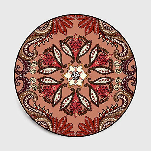 WIVION Alfombra Redonda Bohemia Mandala Bohemia Alfombra Multicolor Alfombra Antideslizante No Tóxica para Sala De Estar Dormitorio Mesa De Centro Alfombra Decoración,F,160CM